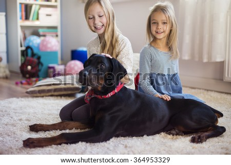 The best friend of kids is a dog  - stock photo