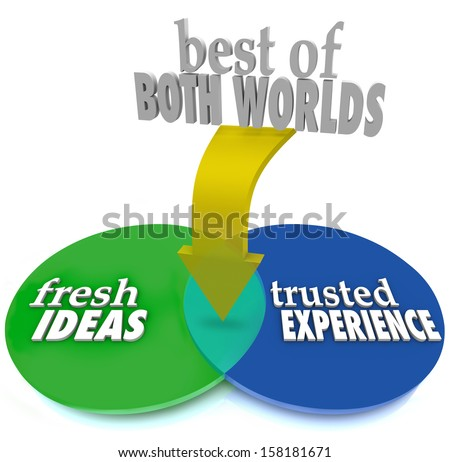 The Best of Both Worlds on a venn diagram with intersecting overlapping circles and the words Fresh Ideas and Trusted Experience to help you pick the ideal service provider or candidate - stock photo
