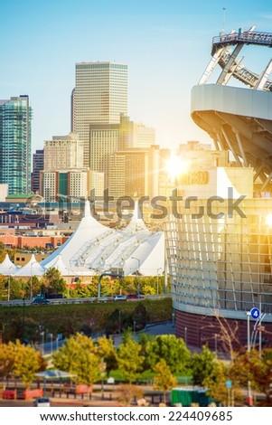 The Best of Denver Colorado. Famous Denver Mile High Stadium and Cityscape. Denver, United States. - stock photo