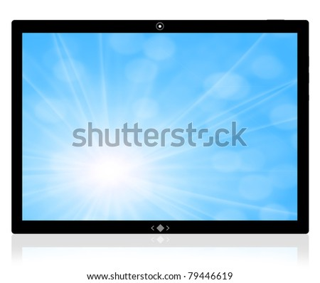 The best PC tablet computer and blue background - stock photo