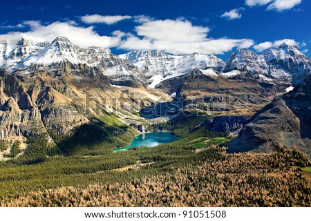 The best place on Earth to be in: Lake O`Hara, in Yoho National Park, British Columbia border with Alberta. - stock photo