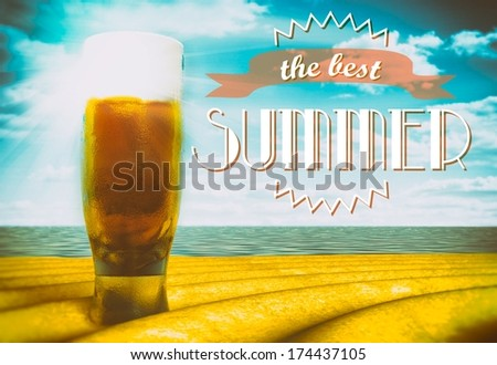 The best summer sign with beer glass on beach - stock photo