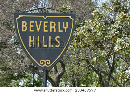 The Beverly Hills sign on a sunny day. - stock photo