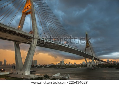 The Bhumibol Bridge also known as the Industrial Ring Road Bridge, at twilight.