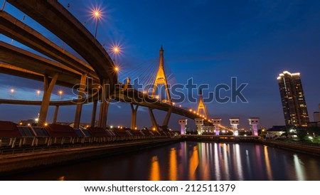 The Bhumibol Bridge , one of most famous bridges in Thailand , spanning the Chao Phraya river