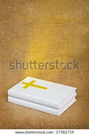 The bible - a source of sacred knowledge, is shone by gold beams - stock photo