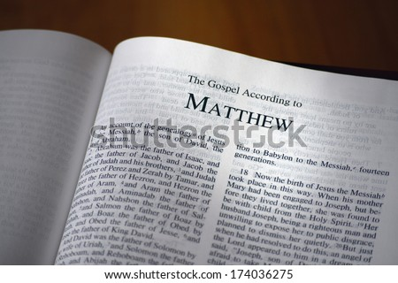 The Bible Opened To The Book Of Matthew - stock photo