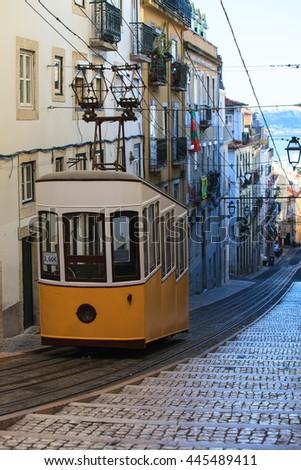 The Bica Funicular (Ascensor da Bica), Lisbon, Portugal   - stock photo