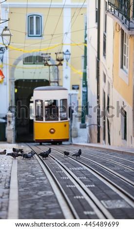 The Bica Funicular, Lisbon, Portugal   - stock photo