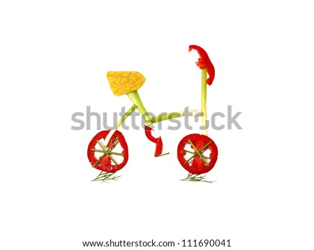 The Bicycle from vegetables - stock photo