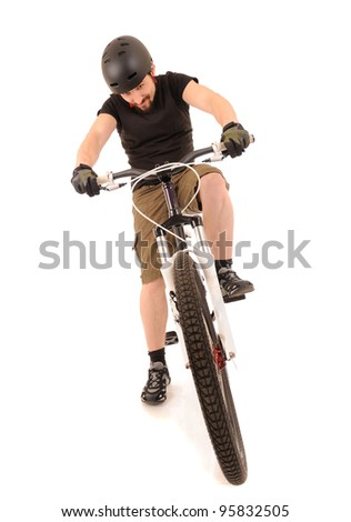 The bicyclist isolated on white, studio shot. - stock photo