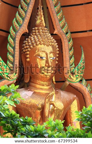 The Big and Attractive Buddha image in Kanchanburi, Thailand - stock photo