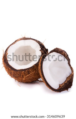 the big beautiful coconut was photographed on a white background