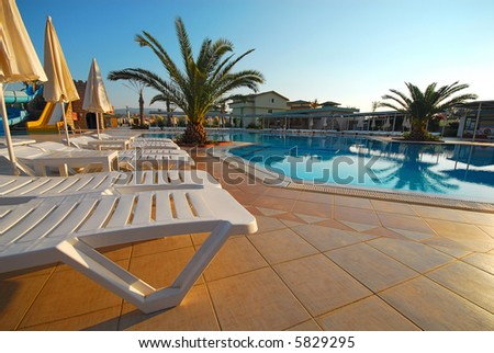 The big beautiful country house with pool - stock photo