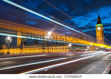 The Big Ben and the House of Parliament at night, London, UK. - stock photo