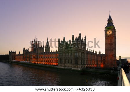 The Big Ben and the House of Parliament at twilight, London, UK. - stock photo