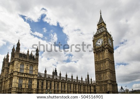 The Big Ben and the Palace of Westminster in London, United Kingdom