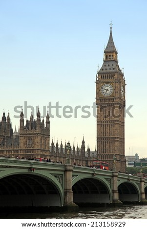 The Big Ben and Westminster bridge, London gothic architecture, UK - stock photo