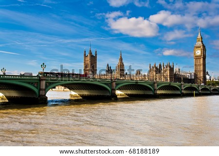 The Big Ben and Westminster bridge on a beautiful day - stock photo