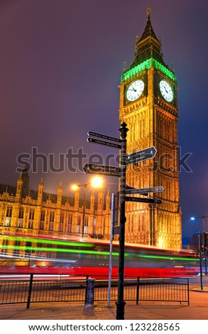 The Big Ben at night, London, UK. - stock photo