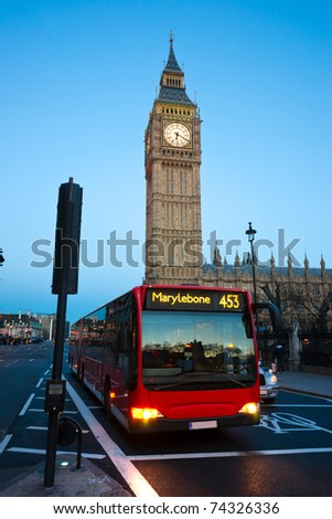 The Big Ben at night, London, UK. - stock photo