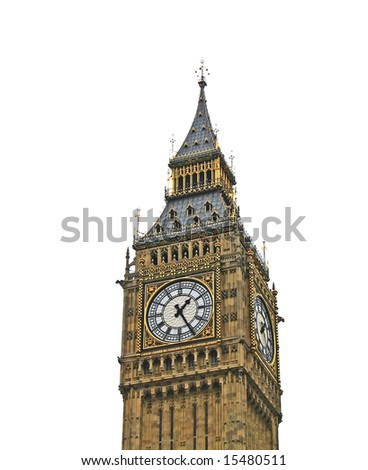 The Big Ben in London United Kingdom isolated on white background - stock photo