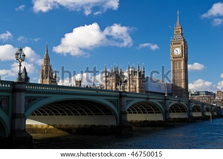 The Big Ben , the Houses of Parliament and Westminster Bridge in London in a beautiful day - stock photo