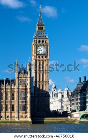 The Big Ben Tower, part of the Houses of Parliament and a symbol of London - stock photo