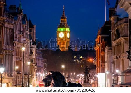 The Big Ben, view from trafalgar square, London, UK. - stock photo
