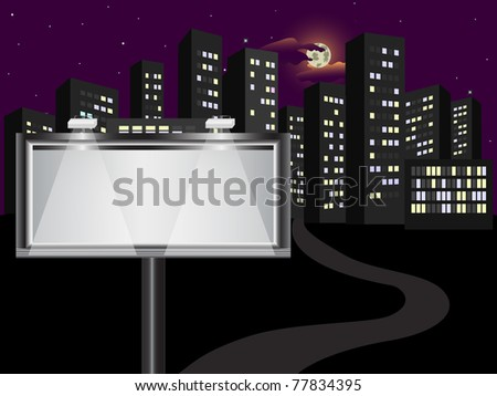 The big billboard in the night city. Similar image in vector format  in my portfolio. - stock photo