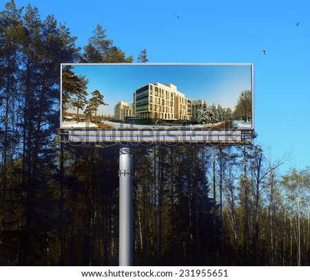 The big billboard real estate for your inscription in wood - stock photo