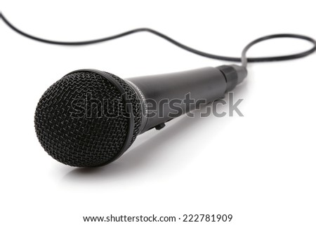 The big black microphone on a white background. - stock photo
