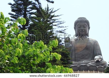 The Big Buddha, landmark on Lantau Island, Hong Kong - stock photo