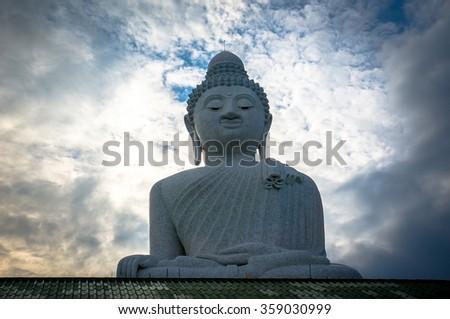 the big Buddha on the island Phuket. Thailand - stock photo