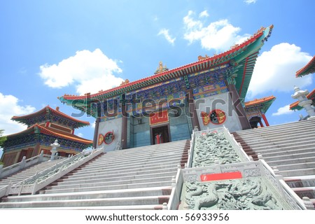 The big chinese temple with nice sky. - stock photo