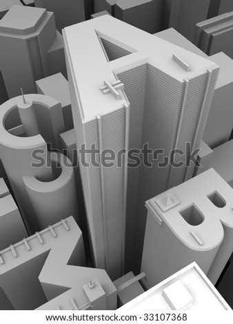 The big city from height - stock photo