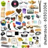 The big collection of different objects on white background - stock photo