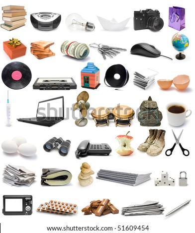 The big collection of objects isolated on white background - stock photo