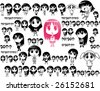 The big collection of the stylised characters of animated girls anime. - stock vector