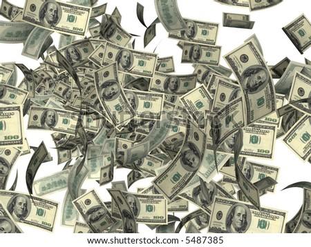 The big  Firework of United States dollars - stock photo