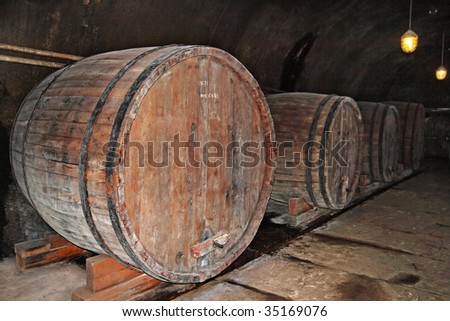 The big flanks in a wine cellar - stock photo