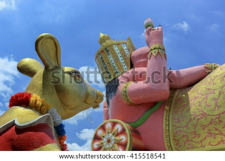 The big Ganesha statue , This statue is located in public Thailand - stock photo