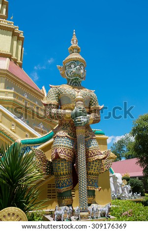The Big Giant on blue sky in Thai Temple,Thailand