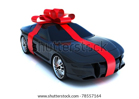 The big gift, sports car with bow, isolated on a white background,Part of a gift car series. 300 D.P.I 3D  model - stock photo