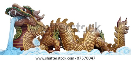 The big golden dragon, it can use for 2012 new year symbol. - stock photo