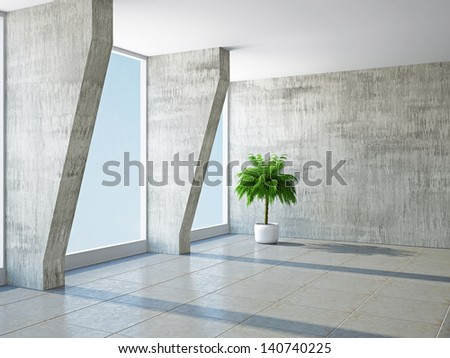 The big hall with columns and  windows - stock photo