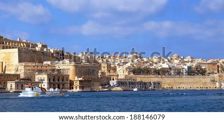 The big harbor of the city Valetta, Malta  - stock photo
