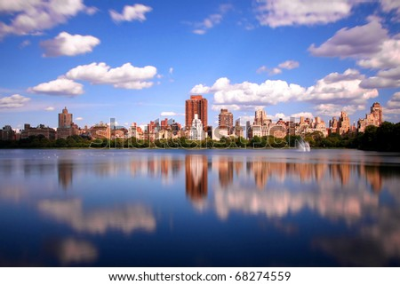 The big lake at central park, New York - stock photo