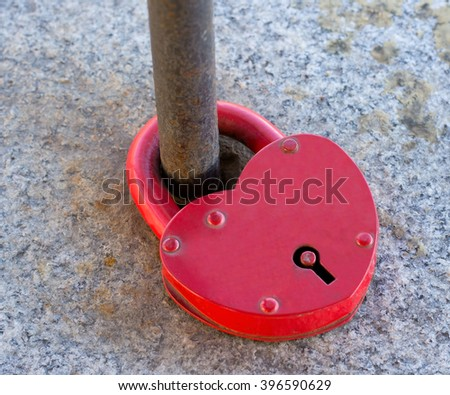 the big Love lock on the bridge  - stock photo