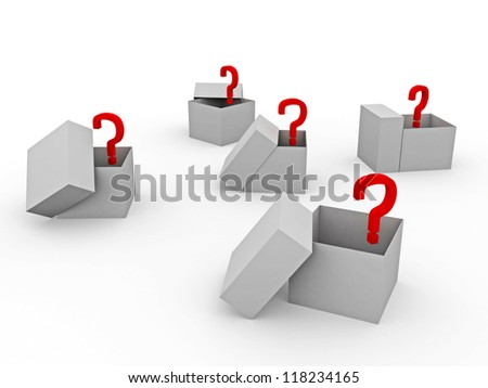 The big open boxes with unknown contents - stock photo